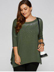 Plus Size Rhinestoned Embellished Smock T-Shirt