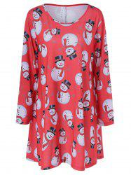 Casual Plus Size Christmas Snowman Print Dress - BLACK AND WHITE AND RED 5XL