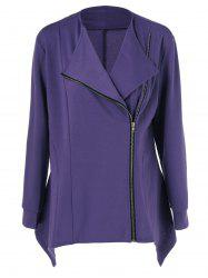Plus Size Side Zipper Asymmetrical Jacket - PURPLE
