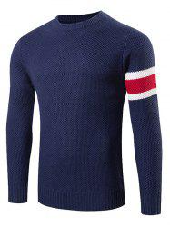 Stripes Pattern Knitting Crew Neck Sweater