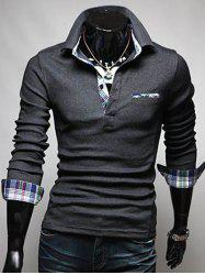 Front Pocket Plaid Splicing Long Sleeve Polo T-Shirt - DEEP GRAY
