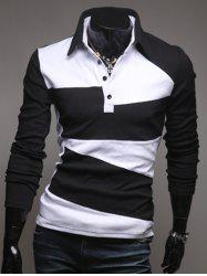 Color Block Long Sleeve Polo Collar T-Shirt