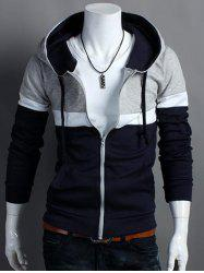 Hooded Color Block Zip Up Long Sleeve Hoodie - CADETBLUE