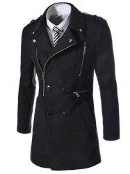 Asymetrical Zipper Lapel Wool Blend Coat - BLACK
