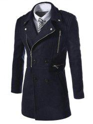 Asymetrical Zipper Lapel Wool Blend Coat - CADETBLUE L