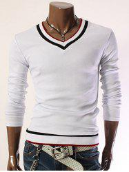Color Block V-Neck Long Sleeve Slim T-Shirt - WHITE