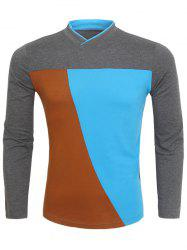 V-Neck Color Block Long Sleeve T-Shirt - GRAY 3XL