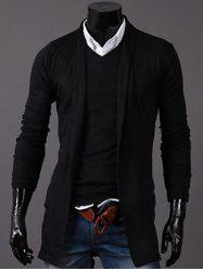 Open-Front Cardigan - BLACK