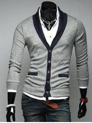 Two Pocket Styling Shawl Collar Cardigan - LIGHT GRAY