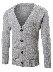 Pocket Button Up Knit Cardigan - GRAY 2XL