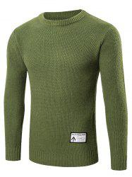 Ribbed Trim Patched Crew Neck Knit Sweater -