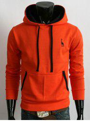 Pocket Fawn Embroidery Pullover Orange Hoodie