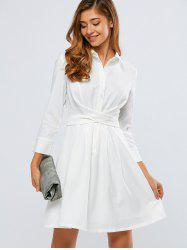 Self-Tie A Line Long Sleeve Shirt Dress - WHITE XL