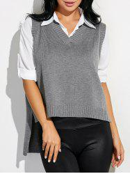 High Low Sweater V Neck Vest
