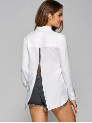 High Low Zip Retour Chiffon Shirt - Blanc
