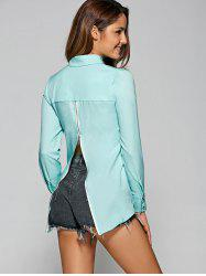 High Low Back Zip Lightweight Long Sleeve Chiffon Shirt