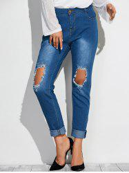 Frayed Broken Hole Denim Pencil Pants - DEEP BLUE
