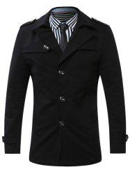 Turn-Down Collar Single-Breasted Epaulet Trench Coat - BLACK XL