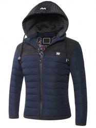 Hooded Zip-Up Splicing Quilted Jacket -