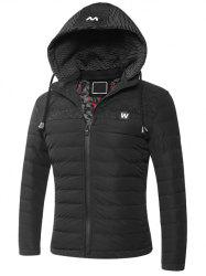 Hooded Zip-Up Splicing Veste matelassée - Noir L