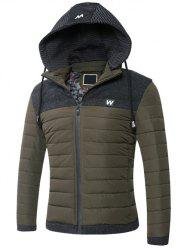 Hooded Zip-Up Splicing Veste matelassée -