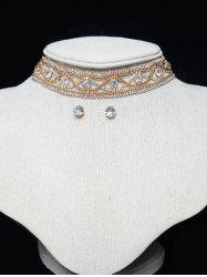 Hollowed Beaded Eye Rhinestone Choker Set - GOLDEN