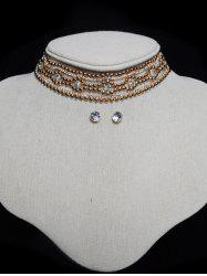 Tiered Rhinestone Floral Choker Set - GOLDEN