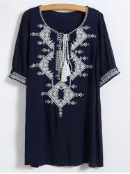 Scoop Neck Embroidered Tunic Dress