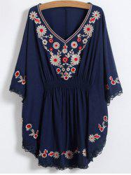 V Neck Floral Mexican Embroidered Dolman Blouse -