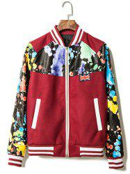Paint Splash Printed PU Leather Insert Zip Up Jacket