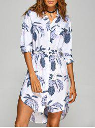 Button Leaf Print Shirt Dress