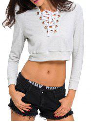 Lace Up Long Sleeve Cropped Sweatshirt