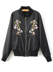 Stand Neck Floral Embroidered Fall Bomber Jacket - BLACK S