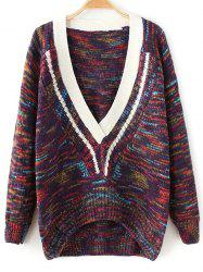Plunging Neck Space-Dyed Sweater -