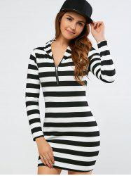Strip Hoodie Skinny Dress