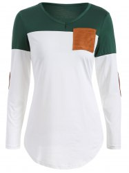Color Block Elbow Sleeve T Shirt - BLACKISH GREEN XL