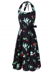 Vintage Halter Cherry Print Dress - FLORAL S