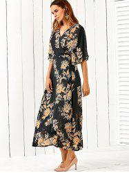 V Neck Flower Print Kimono Maxi Wrap Dress - FLORAL