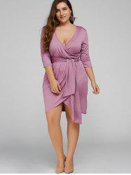 Plus Size Self-Tie Asymmetric Bridesmaid Wrap Dress