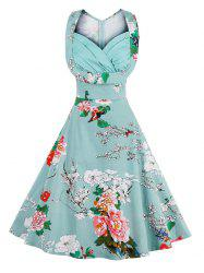 Retro Sweetheart Neck Sleeveless Swing Floral Dress -
