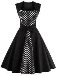 Retro Polka Dot encolure carrée Robe trapèze - Noir