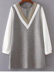 Round Neck V Pattern Wool Spliced Shift Dress