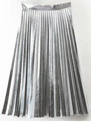 Accordion Pleat PU Leather Skirt - SILVER