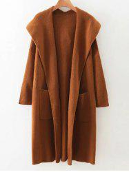 Pockets Hooded Long Cardigan -