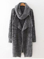Drape Front Long Cardigan With Non-Detachable Knitted Scarf