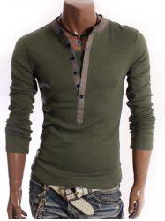 Long Sleeve Half Button Embellished T-Shirt - ARMY GREEN