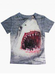 Shark Print Short Sleeve V Neck T-Shirt -