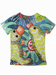 Cartoon Pattern Short Sleeve T-Shirt -