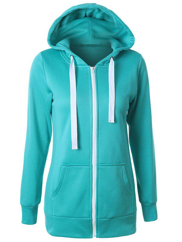 Shops Casual Drawstring Long Sleeve Zipper Up Hoodie