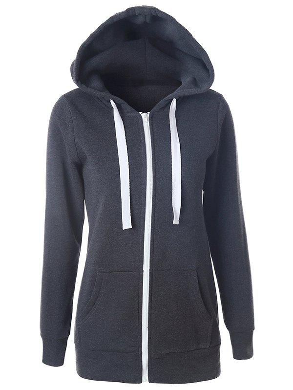Cheap Casual Drawstring Long Sleeve Zipper Up Hoodie